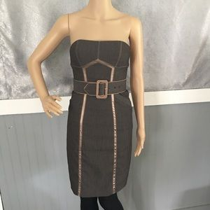 Bebe Two Toned Brown strapless belted mini dress
